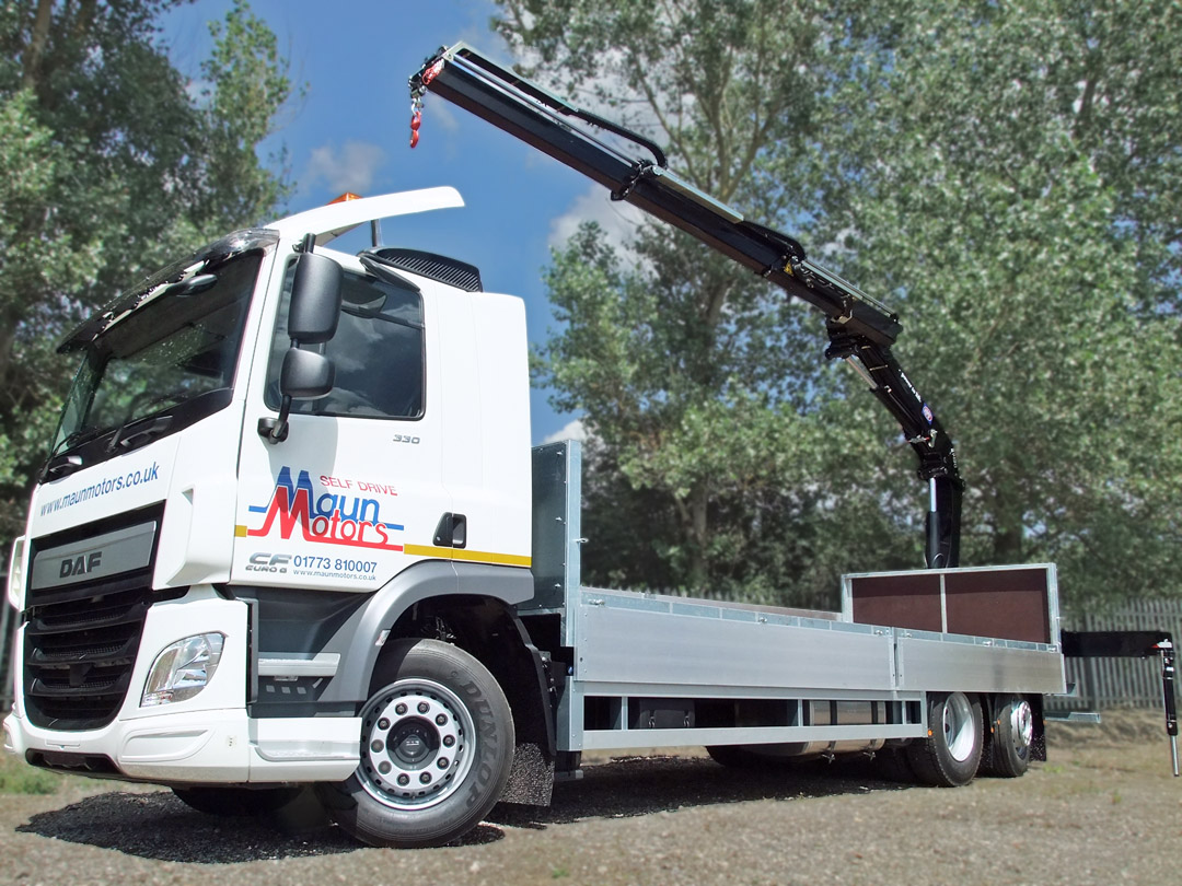 26t Crane Lorry - Dropside with Crane, Rear Mounted Loader, Drop Axle - Day Cab
