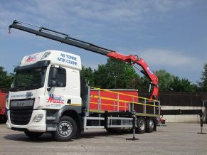 Heavy Lift Crane Lorry Hire - Hiab type Crane Lorry for hire from Maun Motors - DAF 26 tonne with HMF 4020 loader crane