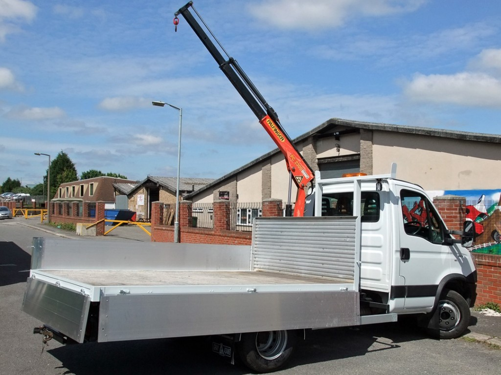 Specialist Commercial Vehicle Hire from Maun Motors Self Drive - Iveco Daily Dropside with Crane, 6500kg GVW - Specialised van hire, specialist lorry hire, specialist van hire, specialised vehicle hire