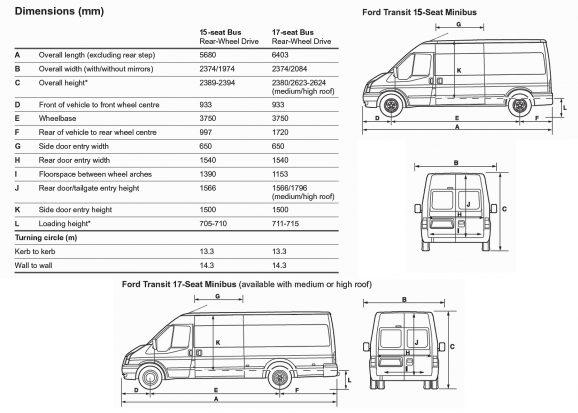 Ford Transit 2012 Minibus Layout
