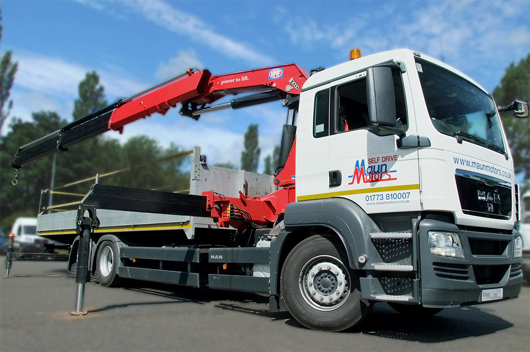 26t Crane Lorry – Dropside with Crane, Front Mounted Loader, Drop Axle – Day Cab