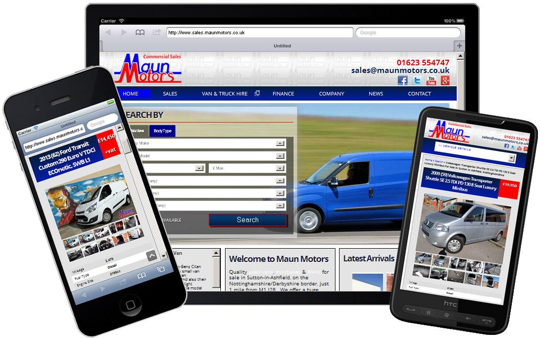 Maun Motors Sales Website on Mobile Devices