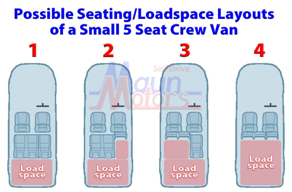 Small Crew Van Hire - Small Crew Cab Van Rental - flexible seating layout & loadspace dimensions double cab van