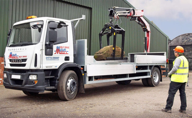 18 tonne Hiab Lorry Hire Rear Mount crane lorry brick grab rental Maun Motors Self Drive Hire