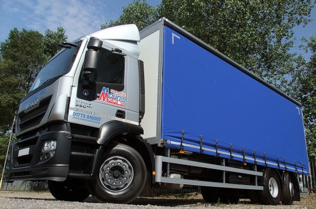 Curtain-Side 26 tonne Moffett Lorry with Moffett Fork Lift mounting kit for hire from Maun Motors Self Drive rentals